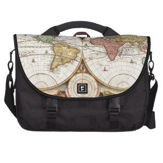 Vintage World Map Two Hemispheres Antique Rare Art Laptop Commuter Bag
