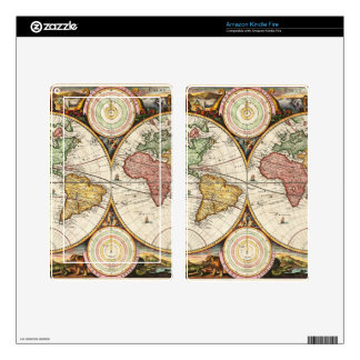Vintage World Map Two Hemispheres Antique Rare Art Kindle Fire Skin
