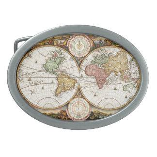 Vintage World Map Two Hemispheres Rare Antique Art Belt Buckles