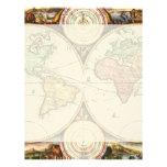 Vintage World Map Two Hemispheres Rare Antique Art Letterhead Design