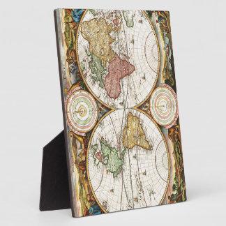 Vintage World Map Two Hemispheres Rare Antique Art Display Plaques