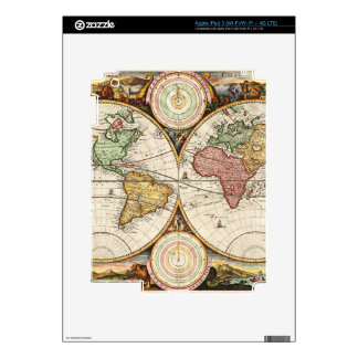 Vintage World Map Two Hemispheres Rare Antique Art Decals For iPad 3