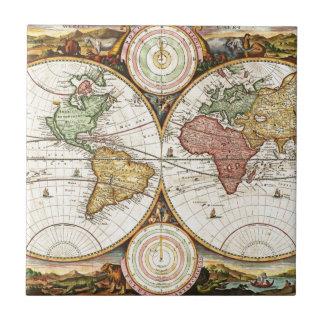Vintage World Map Two Hemispheres Rare Antique Art Tile