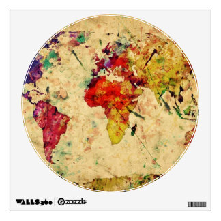 Vintage world map wall sticker