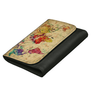 Vintage world map wallet for women