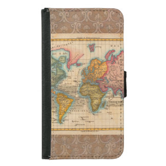 Vintage World Map Wallet Phone Case For Samsung Galaxy S5