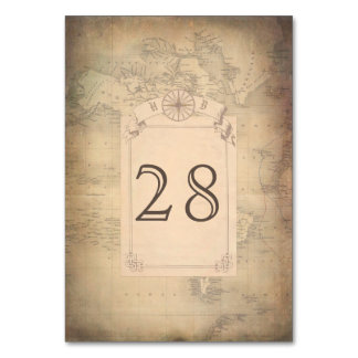 Vintage World Map Wedding Card