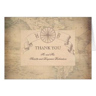 Vintage World Map Wedding Thank You Card