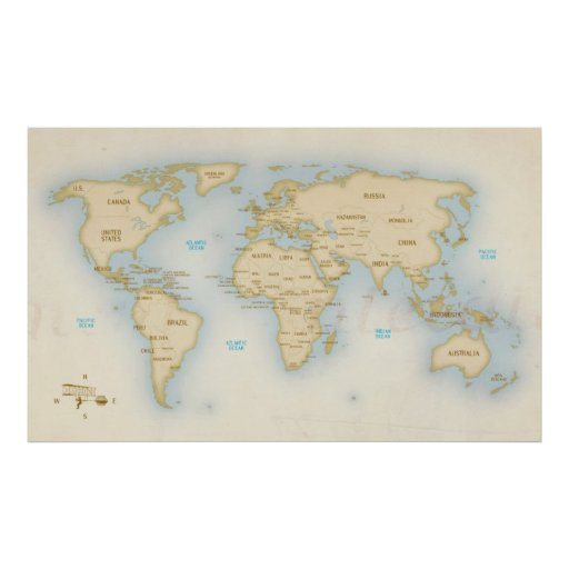 Vintage world map with countries poster Zazzle