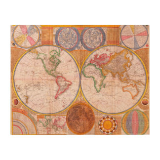 Vintage World Map Wood Wall Art