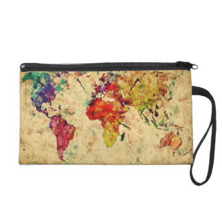 Vintage world map wristlet purse