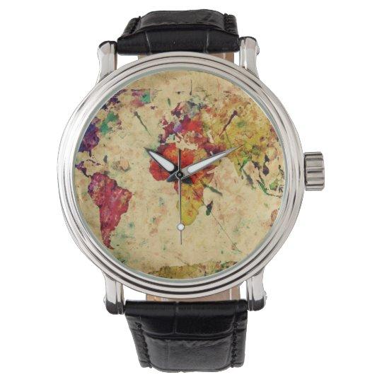 Vintage world map wristwatch