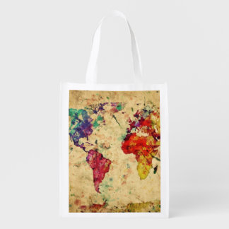 Vintage world map market tote