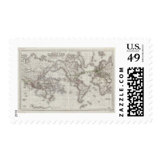 Vintage World Telegraph Lines Map (1855) Postage Stamps