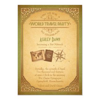 "Vintage World Travel Bat Mitzvah Invitation 5"" X 7"" Invitation Card"