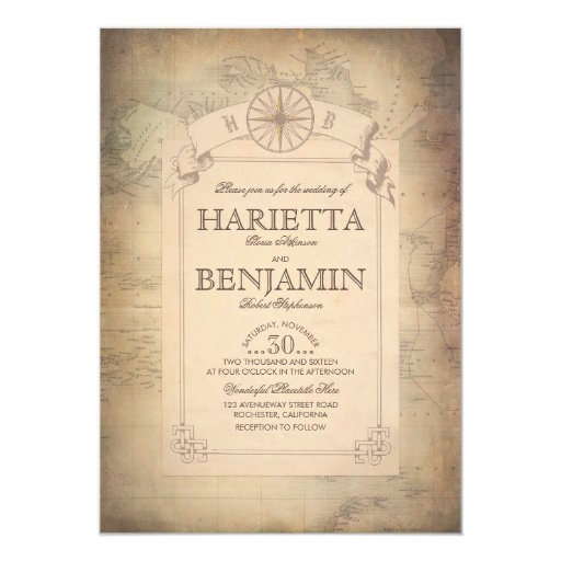 Vintage World Travel Map Adventure Wedding Invitation