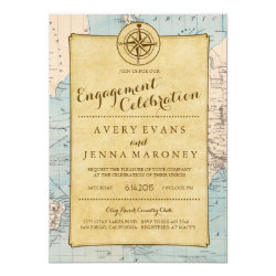 Vintage World Travel Map Engagement Party Invitation