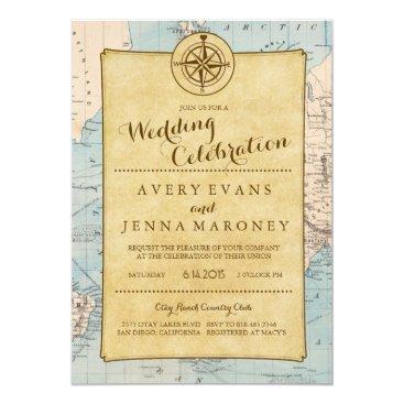 GreenLeafDesigns Vintage World Travel Map Wedding Invitation