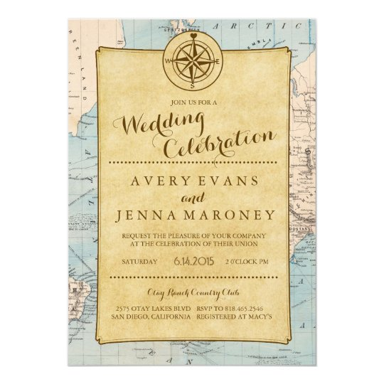 Wedding Invitations With Maps: Vintage World Travel Map Wedding Invitation