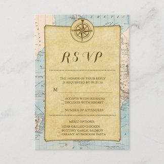 Vintage World Travel Map Wedding RSVP