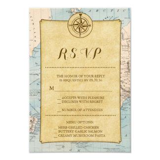 Vintage World Travel Map Wedding RSVP Card