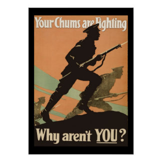 Vintage World War 1 Military Recruitment Chums Poster