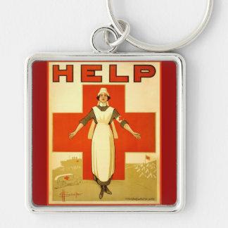 Vintage World War 1 Red Cross Nurse Poster - Help Keychain