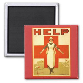 Vintage World War 1 Red Cross Nurse Poster - Help Magnet