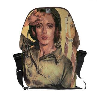Vintage World War 2 Army Nurse Military Retro Messenger Bag
