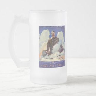 Vintage World War 2 Frosted Glass Beer Mug