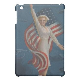 Vintage World War 2 Patriotic Nurse with Flag iPad Mini Covers