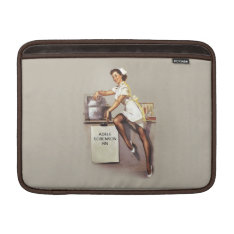 Vintage World War 2 Pinup Nurse Custom Name Macbook Sleeve at Zazzle
