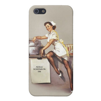 Vintage World War 2 PinUp Nurse Custom Name Retro Cover For iPhone SE/5/5s