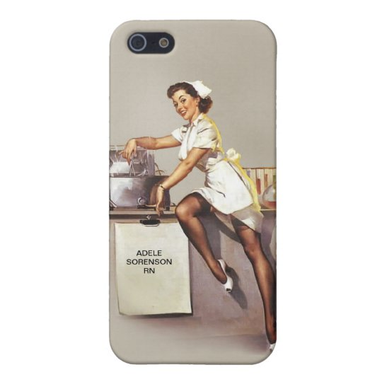 Vintage World War 2 Pinup Nurse Custom Name Retro Cover For Iphone Se 5