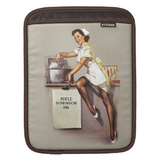 Vintage World War 2 PinUp Nurse Personalized Name Sleeves For iPads