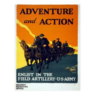 Vintage World War I Adventure in Action Army Postcard