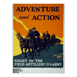 Vintage World War I Adventure in Action Army Poster