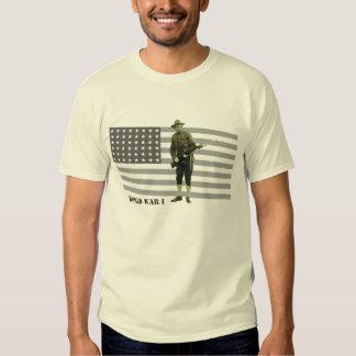 Vintage World War I Doughboy Soldier with Flag Shirt