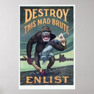 Vintage World War I German Gorilla Propoganda Poster