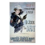 Vintage World War I Navy Recruiting Advertisement Poster