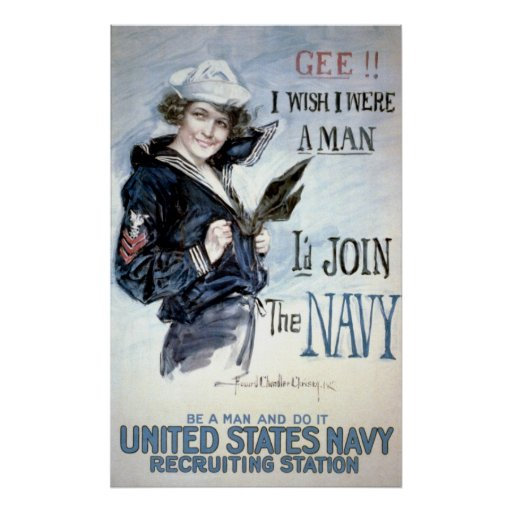 Vintage World War I Navy Recruiting Advertisement Posters