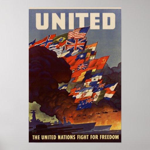 Vintage World War II Allied Flags Poster