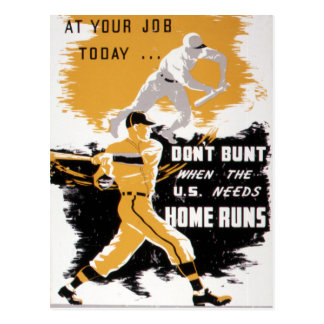 Vintage World War II Don't Bunt Baseball Postcard