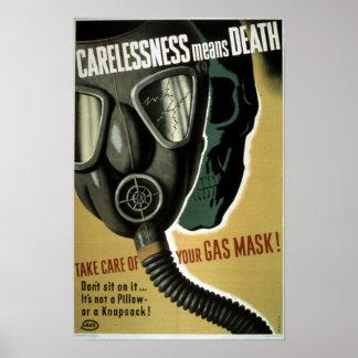 Vintage World War II Gas Mask Safety Poster