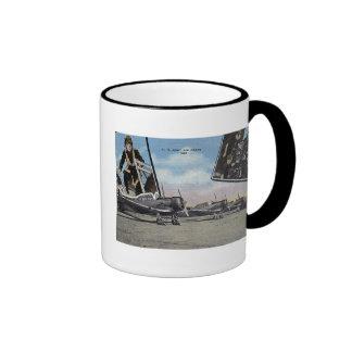 Vintage World War II Post Card Aviation Ringer Coffee Mug