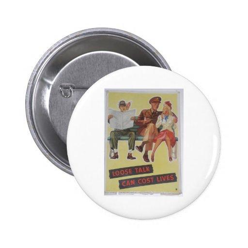 Vintage World War II Print Pinback Buttons