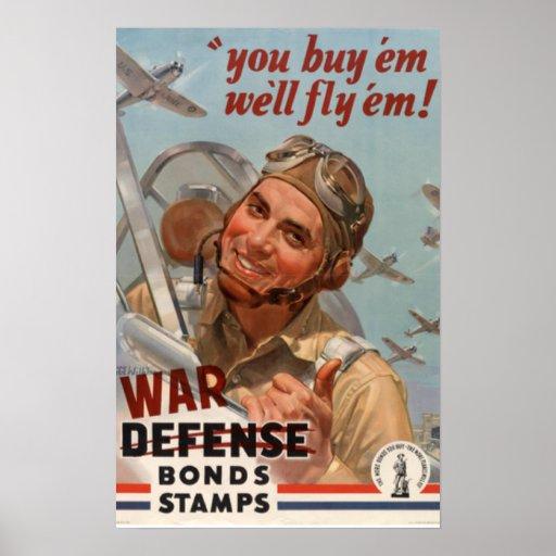 Vintage World War II War Bonds Poster