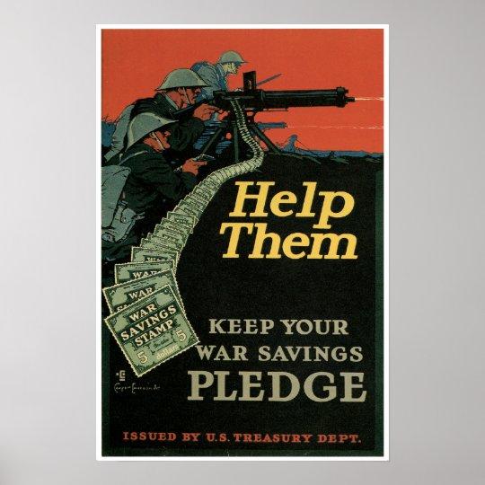 Vintage World War One War Savings Stamps Poster