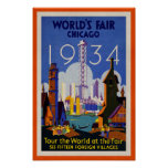 Vintage World's Fair 1934 Advert Poster