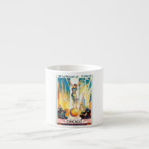 Vintage Worlds Fair Chicago 1933 Poster Espresso Cup